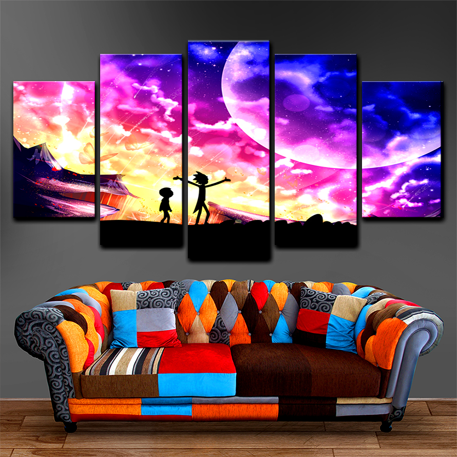 Tableau Wall Art Pictures Canvas Cartoon 5 Panel Rick And