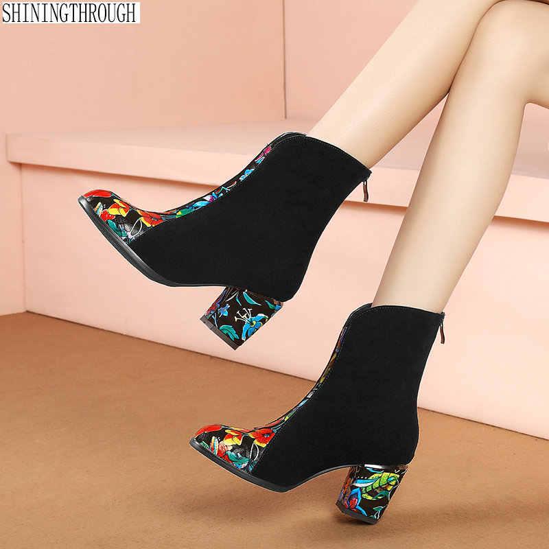 Print hoge hakken vrouwen laarzen nationale stijl bloem dames bruiloft schoenen vrouw herfst winter enkellaars grote maat 43