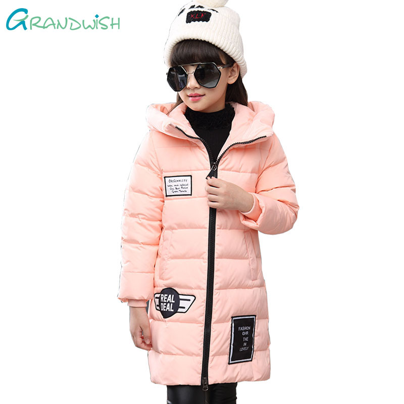Grandwish Winter Thick Down Coats for Girls Letter Hooded Warm Jacket for Children Long Windproof Outerwear Teens 6T-14T,TC157 mmc brand children s winter thick warm brief style gradient splice high quality hooded down coats for girls 90