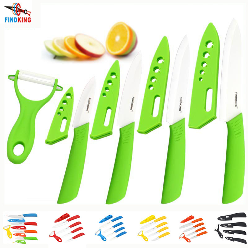 FINDKING Beauty Gifts Zirconia kitchen green color knife set Ceramic Knife Set 3 4 5 6 inch+peeler+Covers