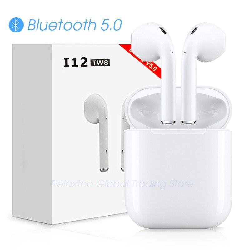 I12 tws Bluetooth Kopfhörer Drahtlose kopfhörer Touch control Ohrhörer 3D Surround Sound & Lade fall für iPhone Android-handy
