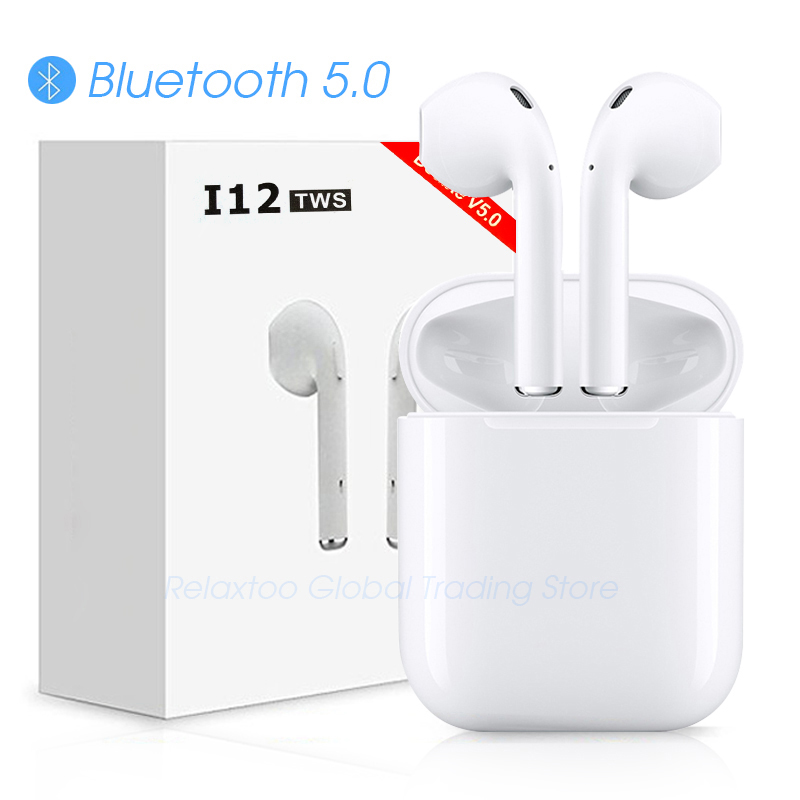 I12 tws auricular Bluetooth inalámbrico auriculares de control táctil auriculares 3D de sonido envolvente y caso de carga para iPhone teléfono Android