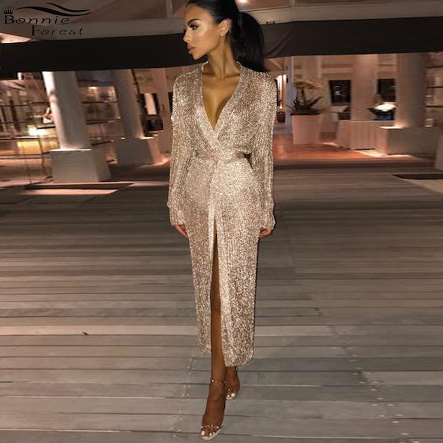 Bonnie Forest Elegant Women Sparkly Party Club Midi Dresses With Belts Sexy  Long Sleeve Deep V Neck Beach Dresses Vestidos 65076eaf3efb