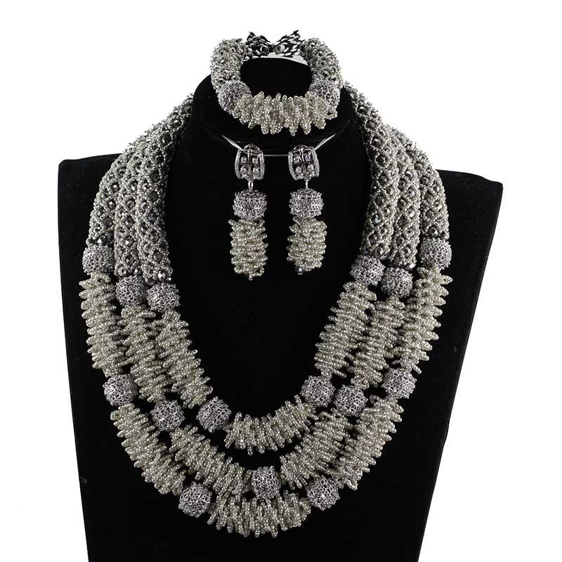 Ensembles de bijoux en perles africaines en argent 2018 ensembles de bijoux de mariée perles de mariage nigérianes ensemble de collier africain pour les femmes WE207