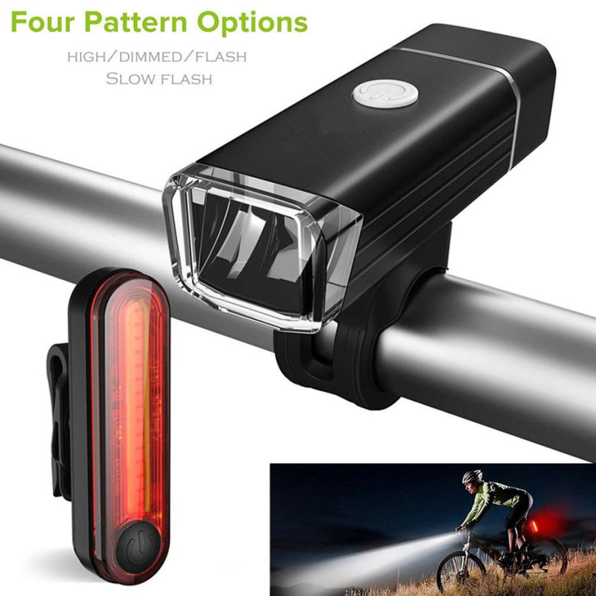 Bike Bicycle Lights USB LED Rechargeable Set Mountain Cycle Front Back Headlight Outdoor Sports Bike Cycling Accessories Nov 29 44pcs set mountain bike patchs maintenance repair box diagnostic tools kit valuables cycling chain case bicycle accessories