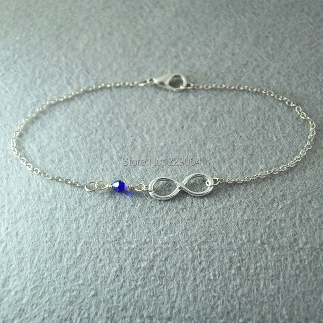 Personalized Infinity Bracelet With Birthstone Small Jewelry For Child Flower