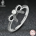 Original 925 Sterling Silver Delicate Sentiments Finger Ring Compatible with VRC Jewelry with White Pearl & Clear CZ A7160