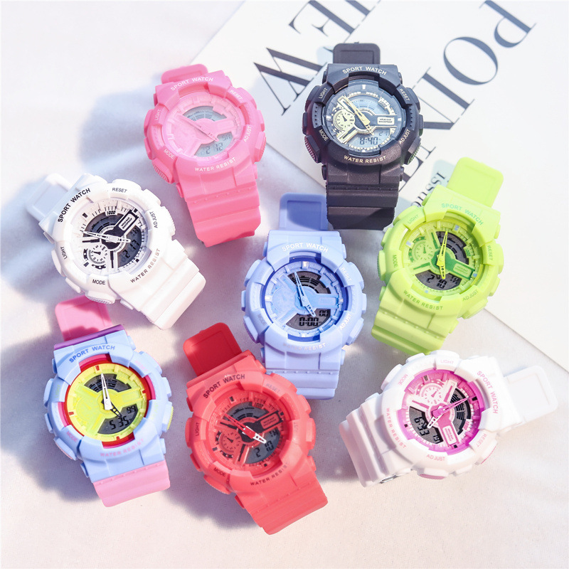 Multifunction Electronic Sport Watch Woman Waterproof Silicone Student Wristwatches Big Dial Clock Gift Montre Femme With Box