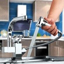 Новый Полированный Хром Латунь Кухня кран двойной Носик судно смесителя кран чистой воды
