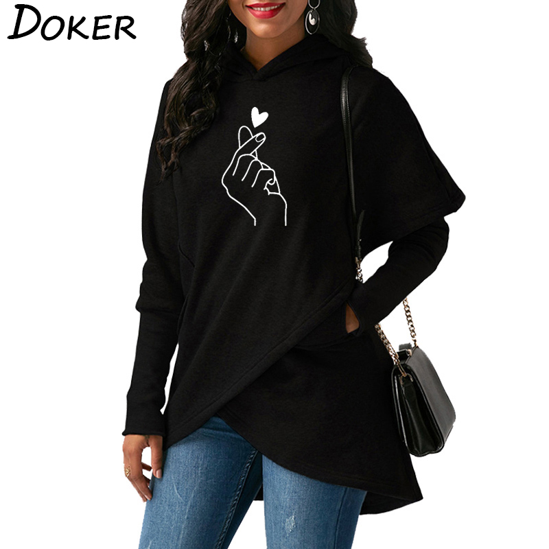 Women Hoodies Sweatshirts 2019 Casual Tops Love Hand Print Long Sleeve Pullover Hoodie Female Plus Size Warm Hooded Sweatshirt