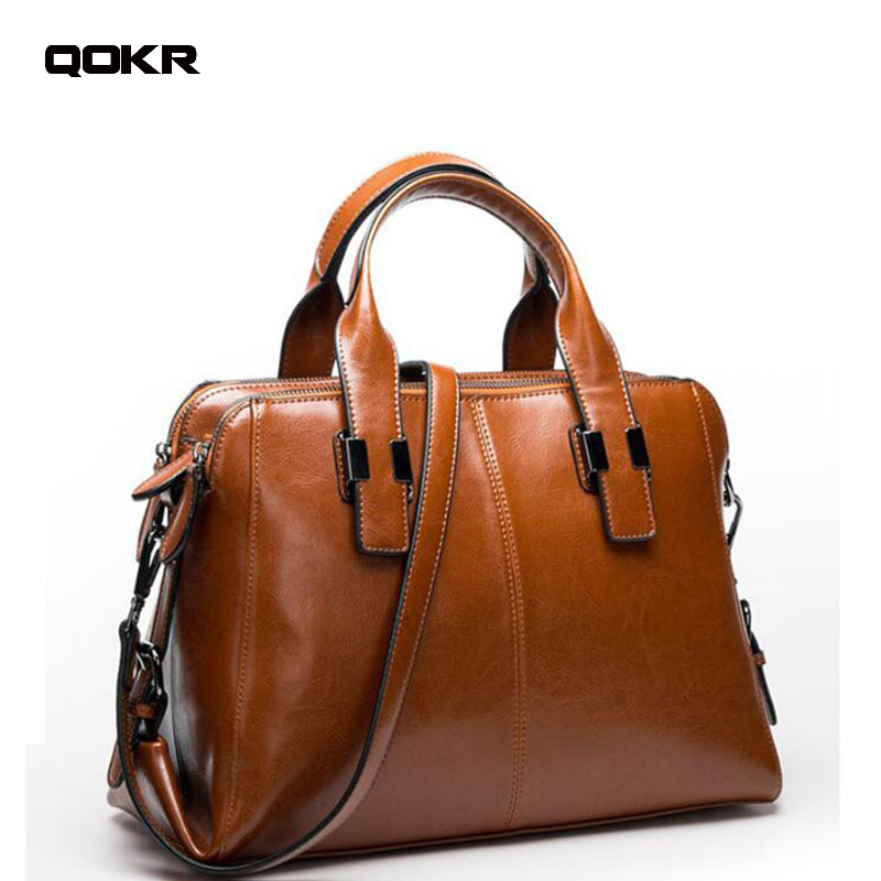 Real Cow Leather Ladies HandBags Women Genuine Leather bags Totes Messenger Bags Hign Quality Designer Luxury Brand Bag qokr donghong real cow leather ladies hand bags women genuine leather handbag shoulder bag hign quality designer luxury brand bag