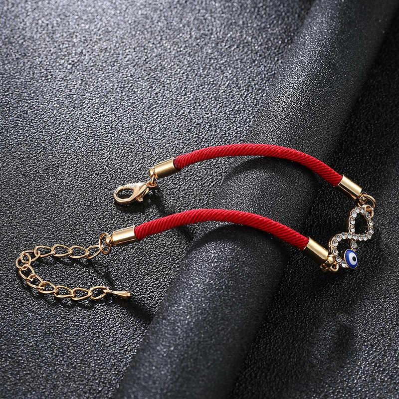 トルコラッキーアイデジタル 8 インフィニティラッキー赤ロープ糸ストリングチャーム夏女性邪眼のブレスレット Pulseira 愛好家ギフト