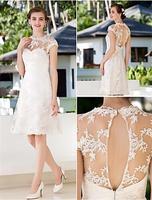 Alexzendra Mini Beach Wedding Dress 2019 Cap Sleeves Lace Short Bride Dresses Custom Made