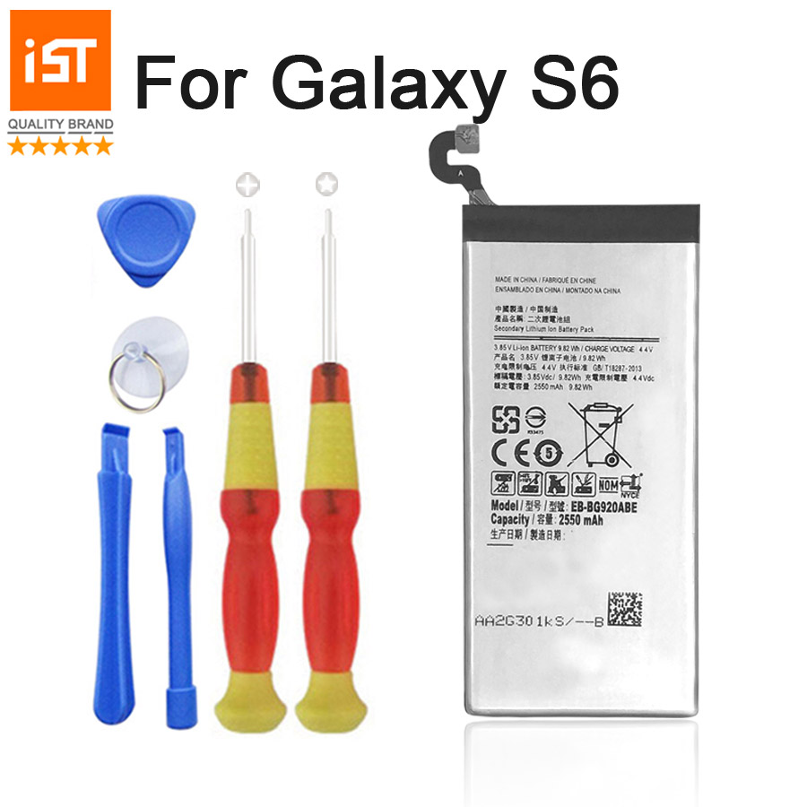 2017 New 100% IST Original Mobile Phone Battery Just For Samsung Galaxy S6 G920 G9200 G920F G920i 2550mAh Replacement Battery
