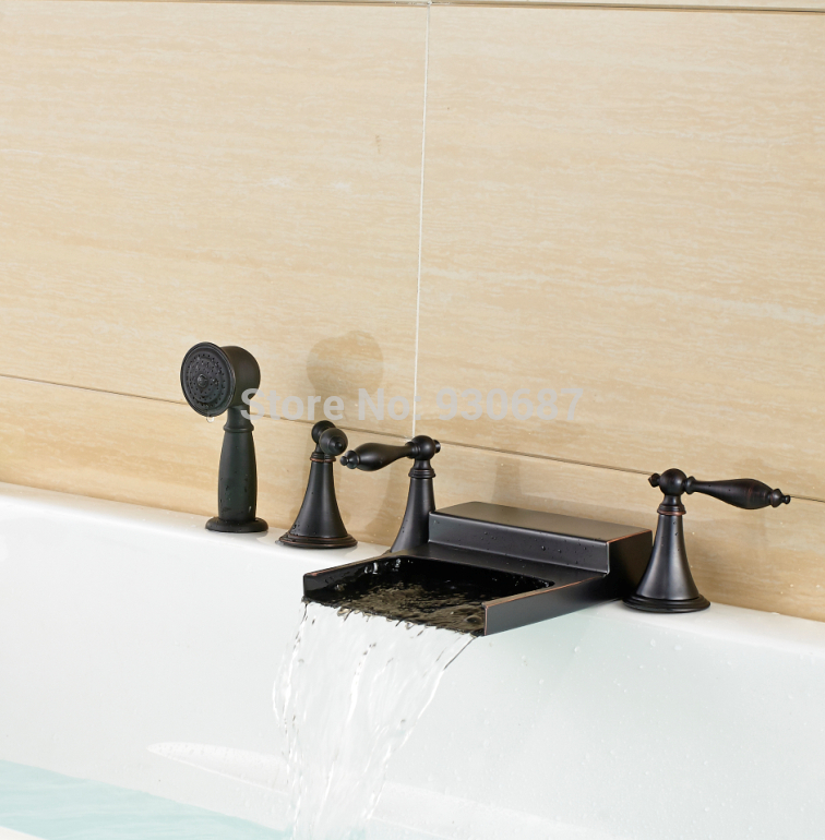 Modern Oil Rubbed Bronze Bathtub Faucet Waterfall Three Handles Mixer Tap