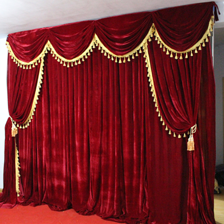 High Quality Velvet Wedding Backdrop Curtains With Tassel Swags Stage Performance Background