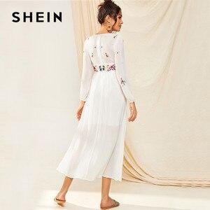 Image 3 - SHEIN Tassel Trim Floral Embroidered White Dress Boho V Neck Bishop Sleeve Maxi Dress Spring High Waist A Line Long Dresses