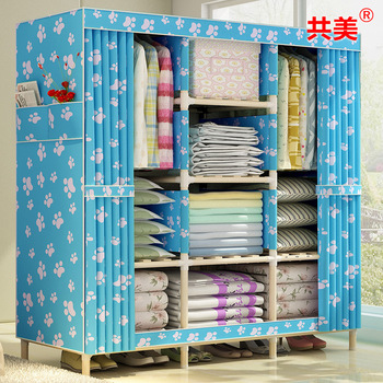 10KG  solid wood oxford cloth wardrobe Simple using foldable  1