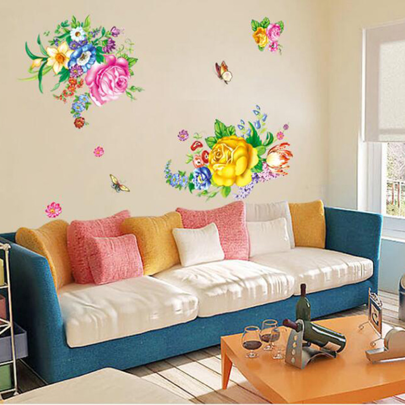 Beautiful peony flowers wall stickers decal for living - Beautiful wall stickers for living room ...