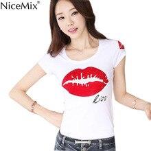 NiceMix New Fashion 2016 Summer Women Tops Tees Casual Lips T-shirt Rainstone T Shirt Harajuku Tshirt Camisetas Mujer