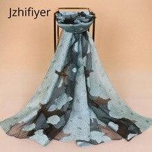 Women hijabs organza rose floral shawl fashion scarf polyester bandana capes feminino inverno silk scarves