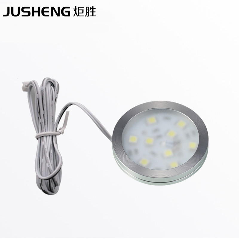 2019 aluminum round surface spotlight 12v ultra-slim 5050 2w dimmable kitchen under cabinet light puck lamps ce rohs 8pcs/lot