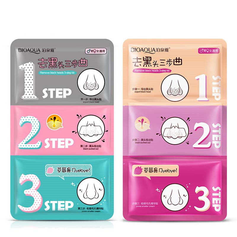 Bioaqua Face Care Nose Mask Remove Blackhead Acne Remover Clear Beauty Clean Cosmetic 3 Step Kit