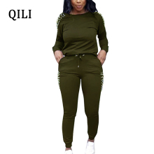 QILI Women Beading Jumpsuits Autumn Long Sleeve Two Piece Set Office Lady Jumpsuit 2 Casual Womens Plus Size