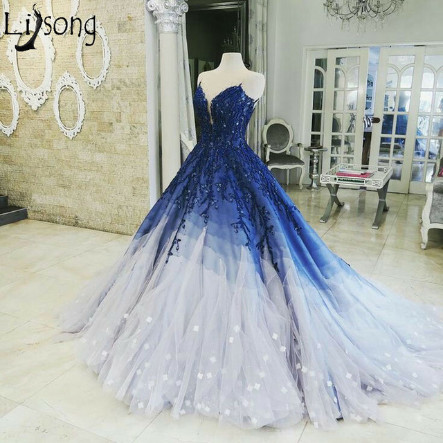 336ed51ed4 Fairy Blue Tulle Long Prom Dresses Tiered Gradient Lace Appliques Charming Evening  Dress Chic Engagement Party Dress Custom Made