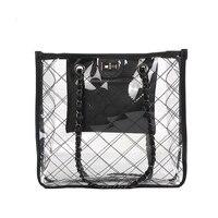 2018 Woman Bag Shoulder Bags Designer Handbags High Quality Pvc Flap Hasp Plaid Chain Transparent Honey Jelly Port Wind