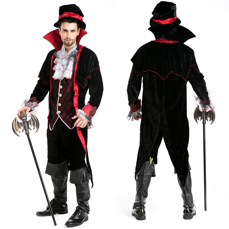Halloween Custumes For Men Adults Luxury Man Vampire  Masquerade Diary Vampire King Dracula Cosplay Victorian Period Costume
