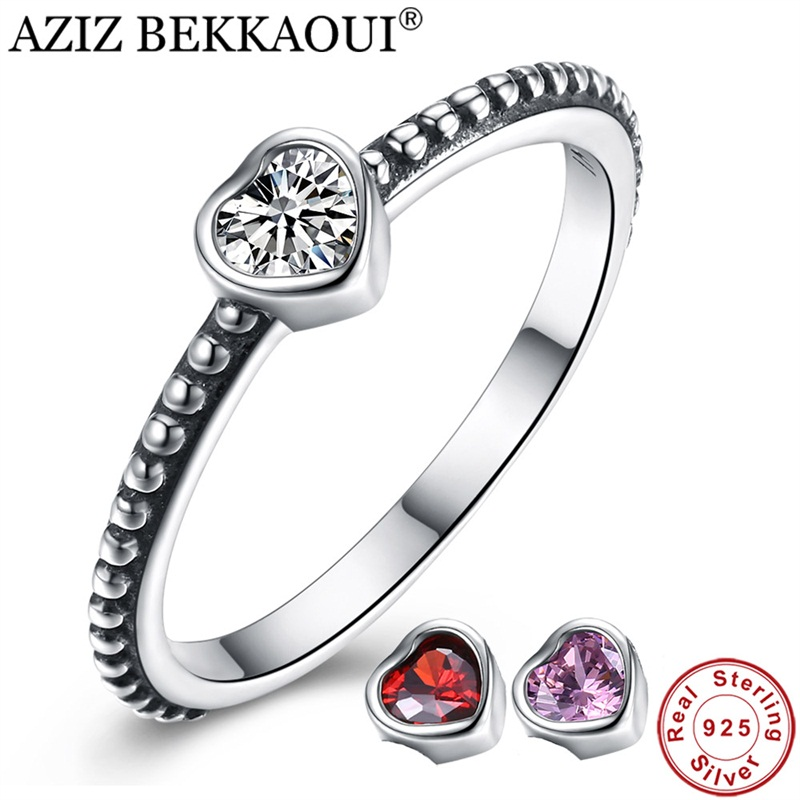 Stackable Ring Engagement Wedding-Jewelry Crystal Heart 925-Sterling-Silver Classic AZIZ