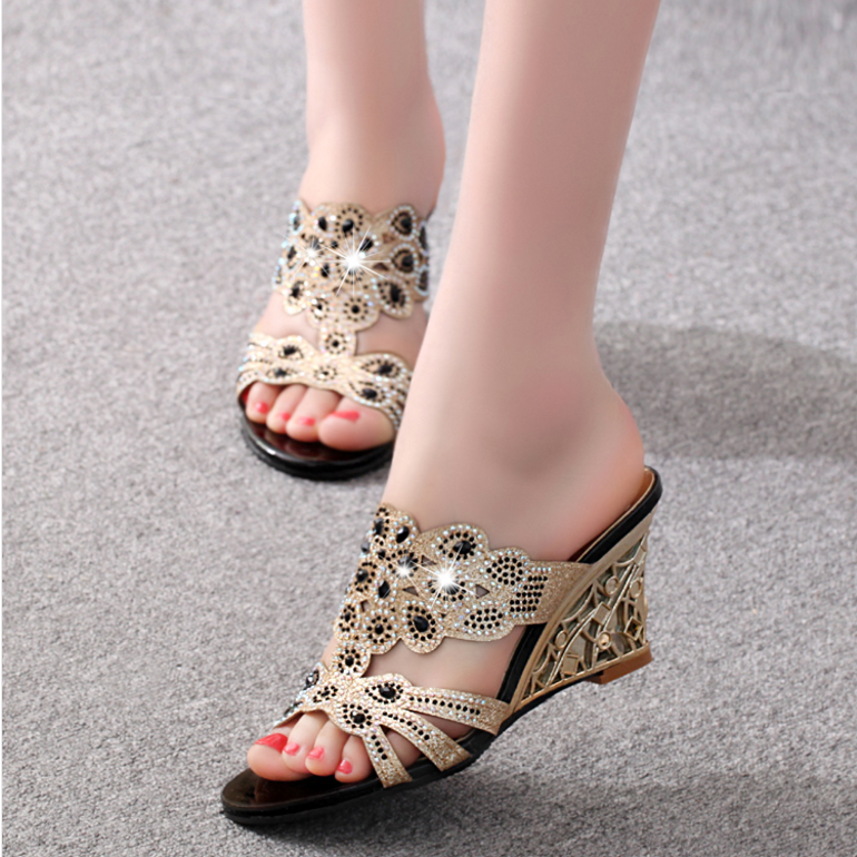 Sandals Crystal Slippers Rhinestone Ladies Shoes High-Heel Bling Casual Summer Fashion