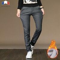 Langmeng 2017 Fashion Autumn Winter Warm Straight Pants Men Brand Male Thick Pants Top Quality Fleece