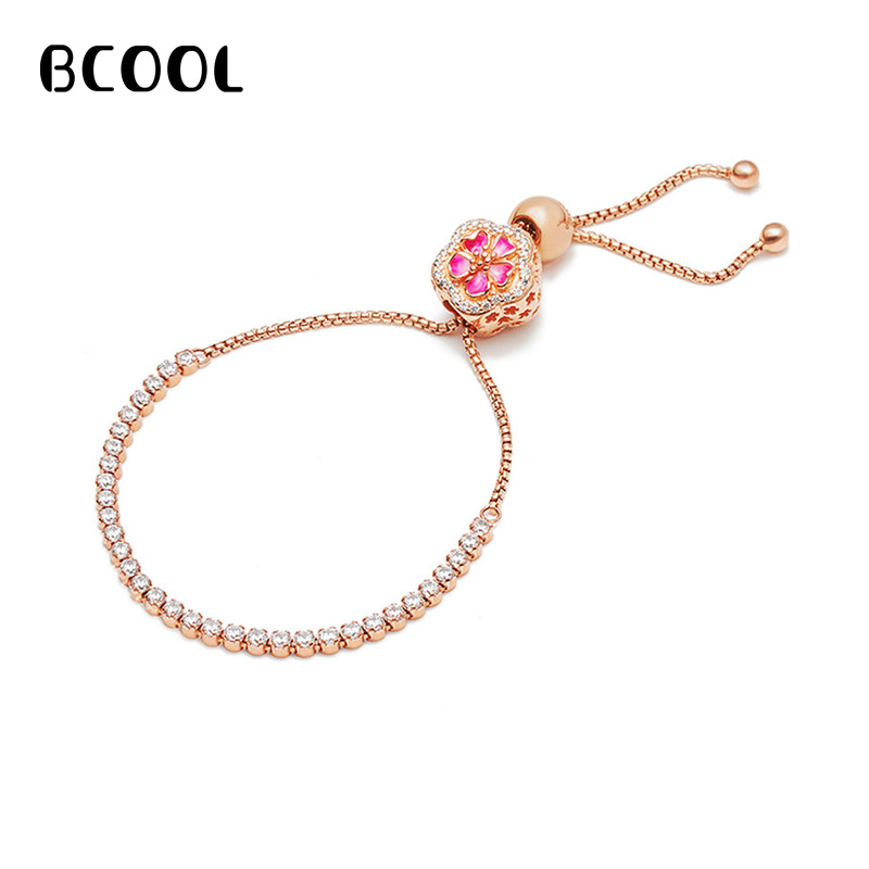 DIY Jewelry Female Charm Fashion Silver 925 Original Bracelet, New Brilliant Peach Blossom Bracelet Jewelry GiftDIY Jewelry Female Charm Fashion Silver 925 Original Bracelet, New Brilliant Peach Blossom Bracelet Jewelry Gift