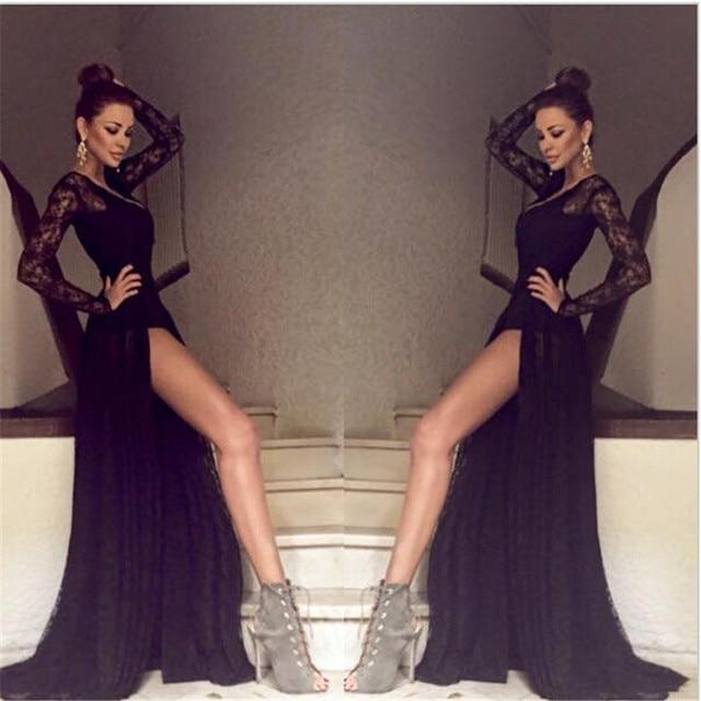 651ae387a292 € 168.94 |Sexy Profundo Escote en v Partido de Manga Larga Vestidos de  Noche 2016 Negro Espalda Abierta Largo de Gasa de Encaje Vestidos de Baile  ...