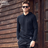 Enjeolon Brand New Long Sleeve Sweatshirt Men Hoodies Black Casual Sweatshirt Men Solid Pullover Clothing Plus