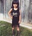 Muchachas de moda 2016 de la camiseta niños Toddler Kids bebé de la ropa del verano ropa sin mangas de la borla negro Tops camiseta