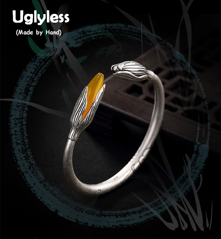 Uglyless S 990 Fine Silver Jewelry Natural Yellow Chalcedony Bangles Women Vintage Handmade Carved Lotus Bangle Magnolia Bijoux