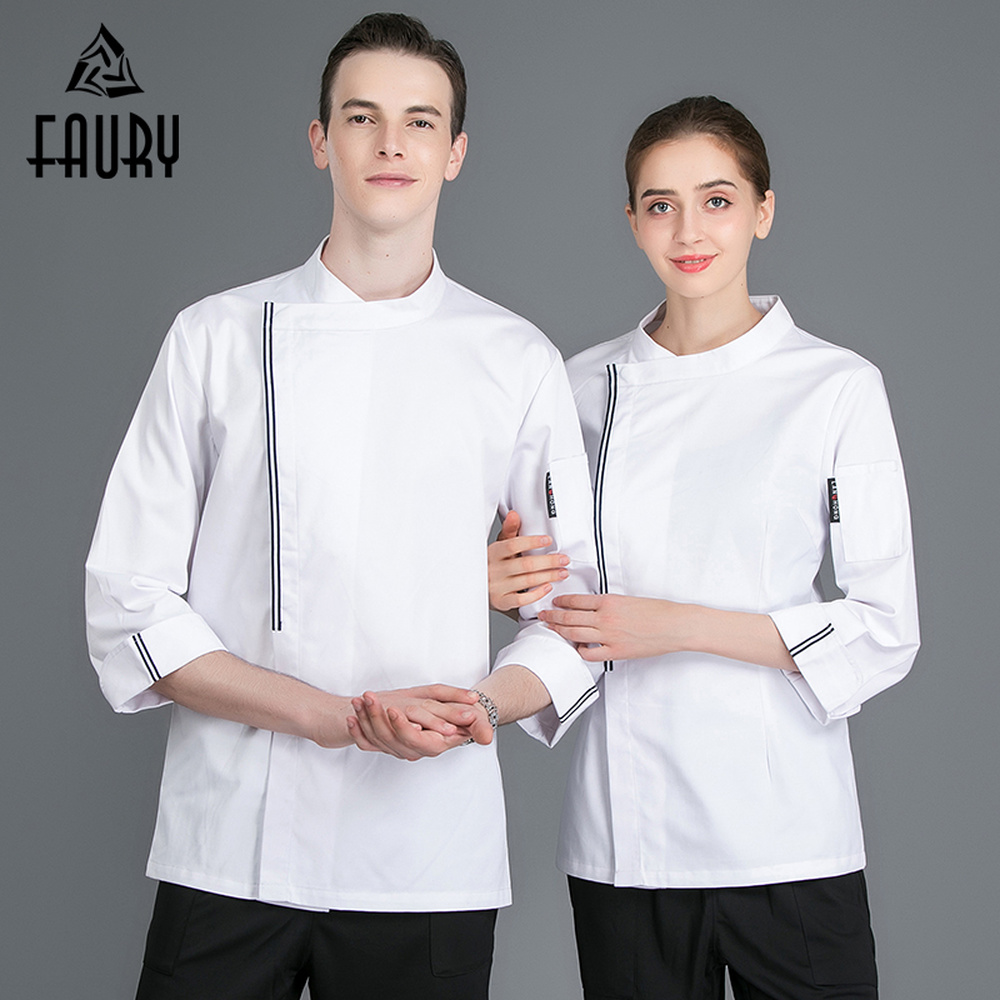 High Quality Men Top Restaurant Cooking Jackets Hotel Chef Kitchen Workwear Clothing Long Sleeve Barbershop Cafe Waiter Uniforms