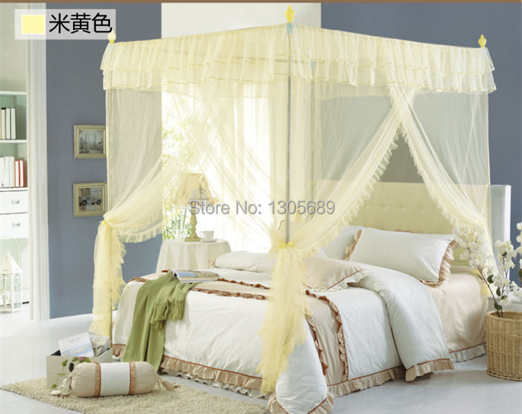 2015 Newly Listed European Style High Quality Metal Steel Frame Pole Mosquito Net Bed 4 Four Corner Canopy Queen Size King In From Home