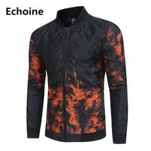 Wholesale Winter Men Jakcet Fire Print Casual Jacket Slim Fit  Coat windbreaker men jaqueta masculina High Quality Outwear