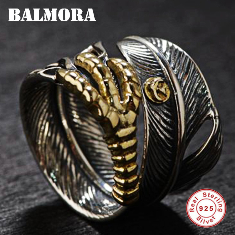BALMORA 925 Sterling Silver Feather Eagle Claw Open Rings For Men Gift Fashion Ring Vintage Thai Silver Jewelry Anillos SY22052