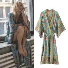 2017 Summer Women Floral Printing Long Kimono Style  Dress Ladies Deep V-neck Batwing Sleeve Loose Boho Vintage Dresses