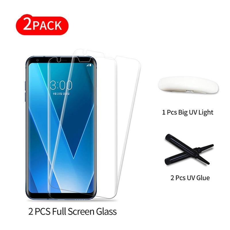 Full Glue Tempered Glass Film For LG V30 Full Screen Coverage 3D UV Light Liquid Sceen Protector Film For V30 Plus 3D Glass Film