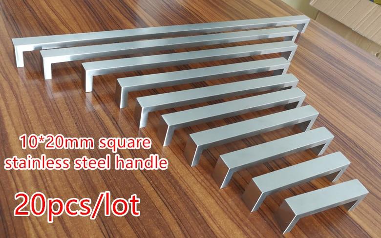 20pcs lot 10 20mm Square Bar door handle Stainless Steel Kitchen Door Cabinet Handle Pull Knob