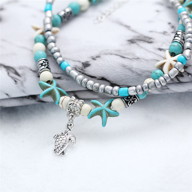 Bohemia Sea Turtle Starfish Charms Beach Anklet Shell For Women Boho Style 1