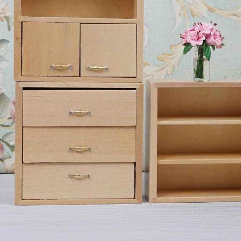 DIY Cabin Miniature Dollhouse 1:12 Accessories Mini Furniture Wood Color Combination Cabinet Poppenhuis Miniaturen 1:12