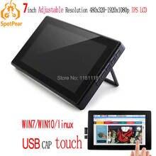 Raspberry Pi 7 cal LCD 7 cal USB pojemnościowy ekran dotykowy HDMI VGA wyświetlacz dla komputer mini PC regulowany 480x320 1920x1080