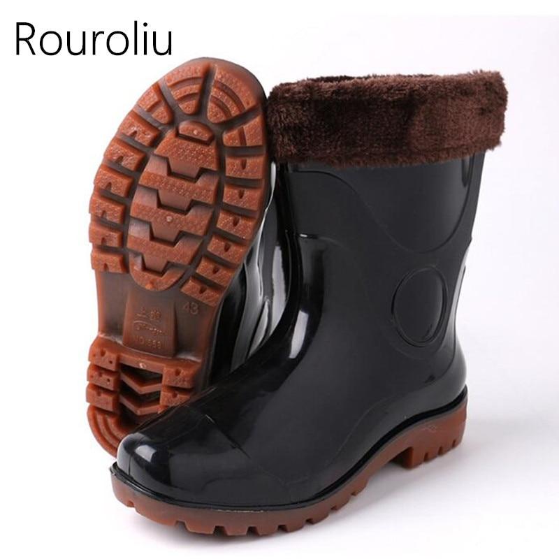 Rouroliu Men Fashion Anti Slip Work Shoes Rainboots -1251